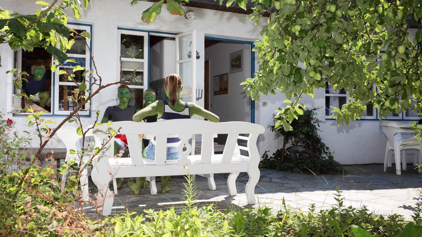 Ferienhaus Dornröschen Terrasse